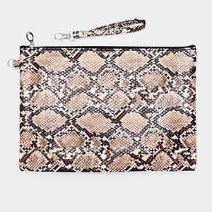 Python Snake Pattern Print Clutch Bag